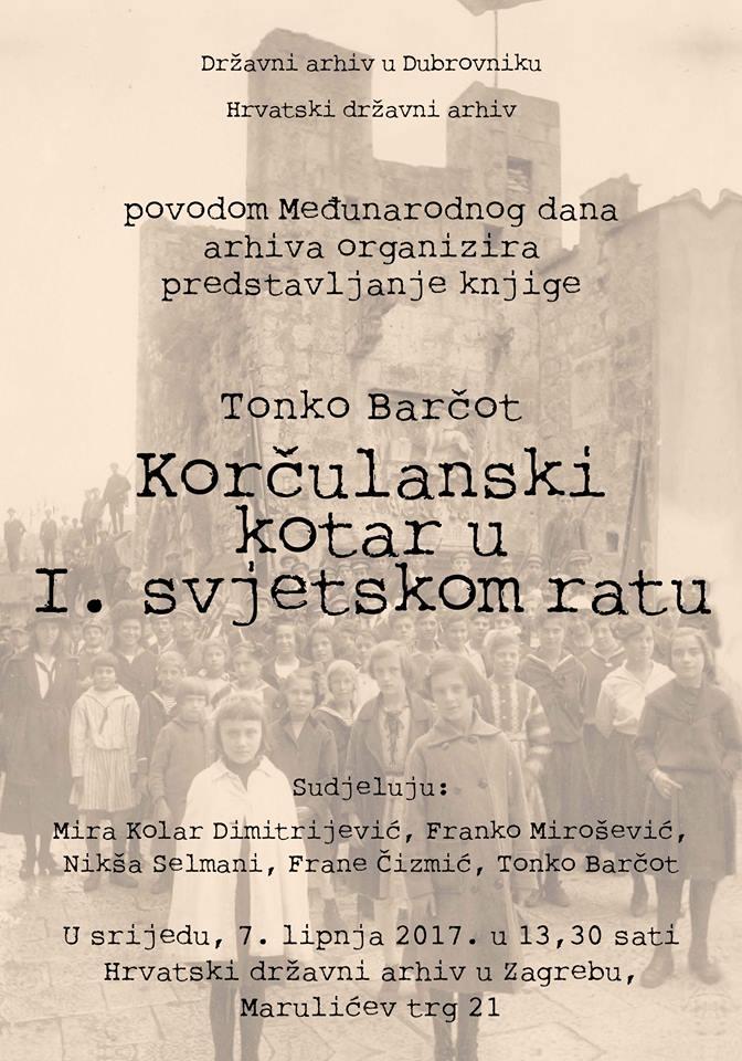 """Plakat predstavljanja knjige """"Korčulanski kotar u I. sv. ratu"""""""