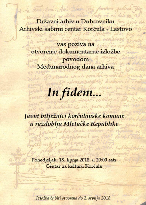 Naslovni plakat za otvorenje izložbe IN FIDEM