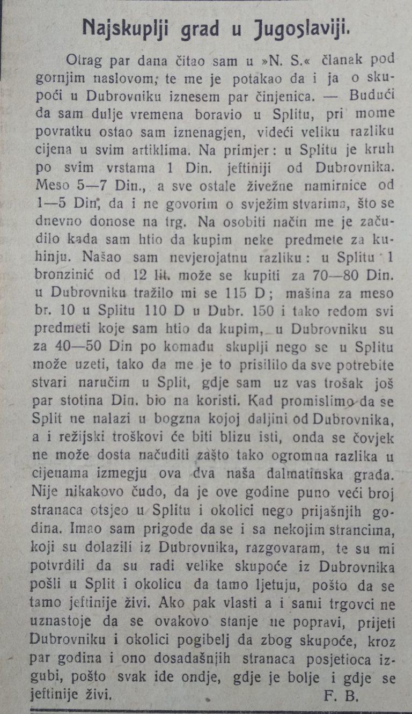Isječak iz novina 1925. godine