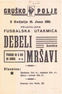 Plakat za nogometnu utakmicu 1932. godine