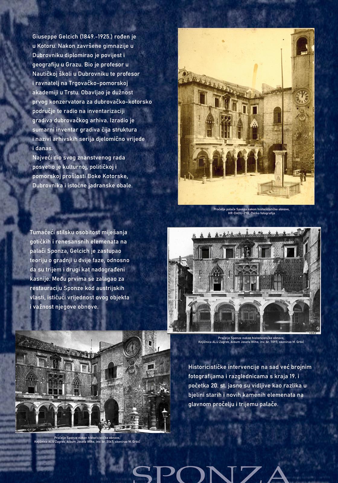 Panel 4 sa tekstom i slikama koje prikazuju historicističke intervencije u palaču Sponza u drugoj polovici 19. stoljeća