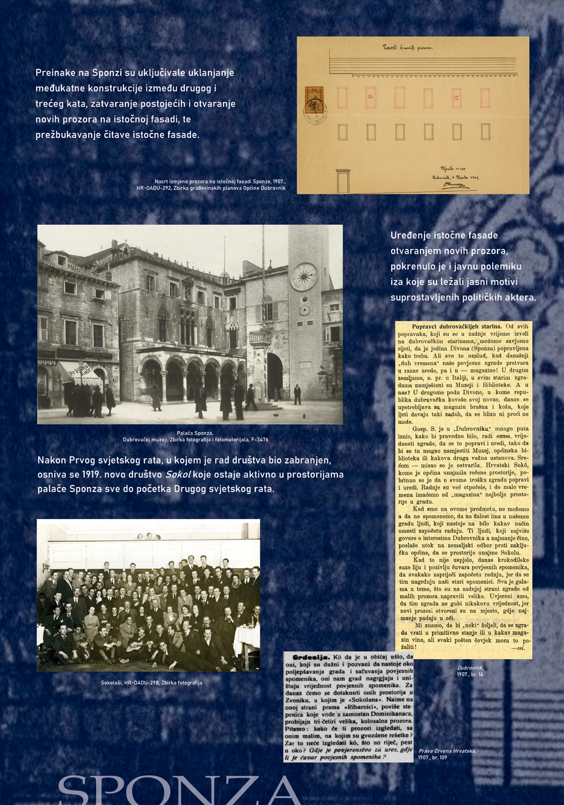 Panel 3 sa izložbe koji prikazuje više fotografija i tekst o sokolskom društvu u Dubrovniku
