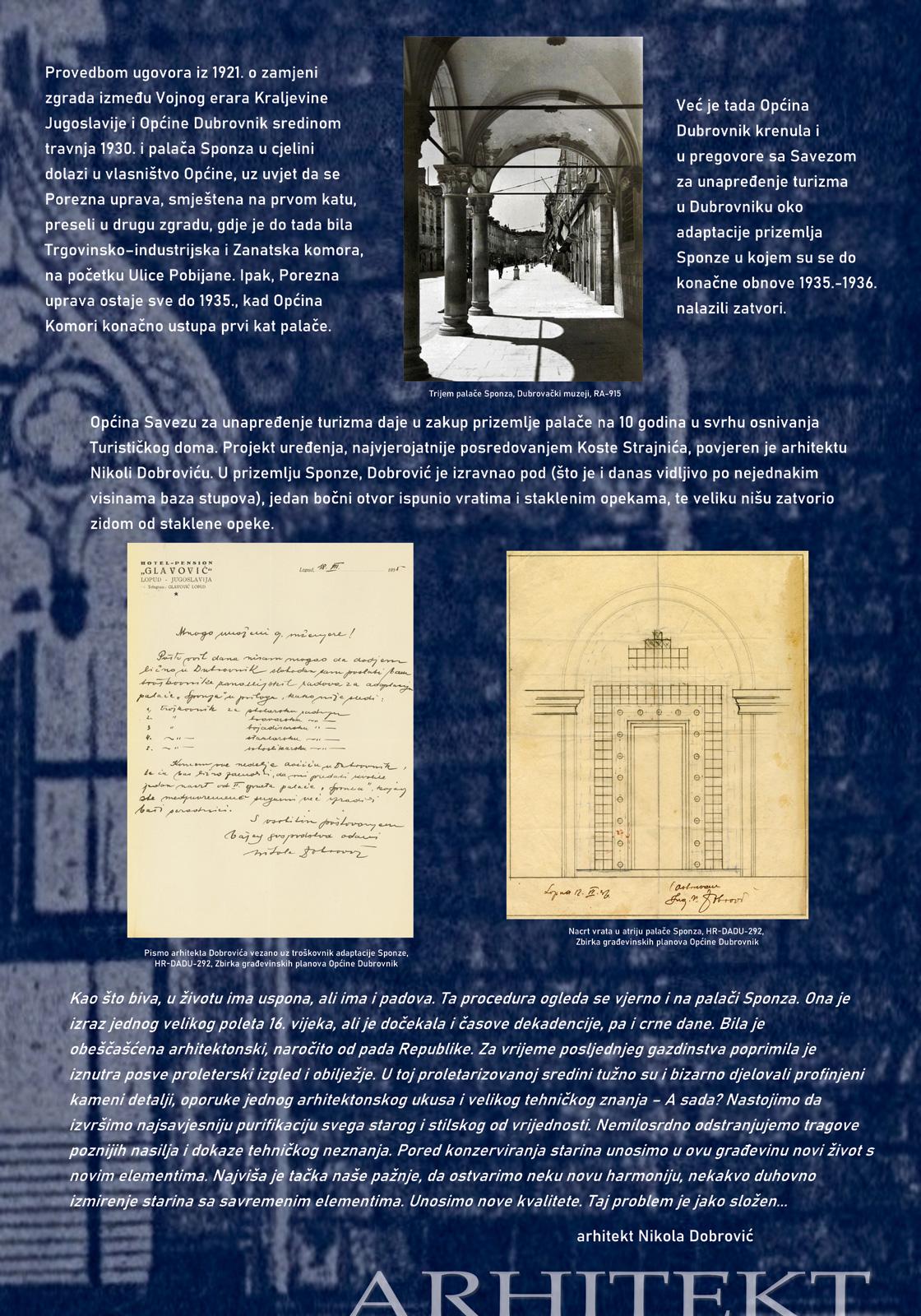 Panel sa izložbe koji prikazuje slike i tekst o intervencijama arhitekta Nikole Dobrovića