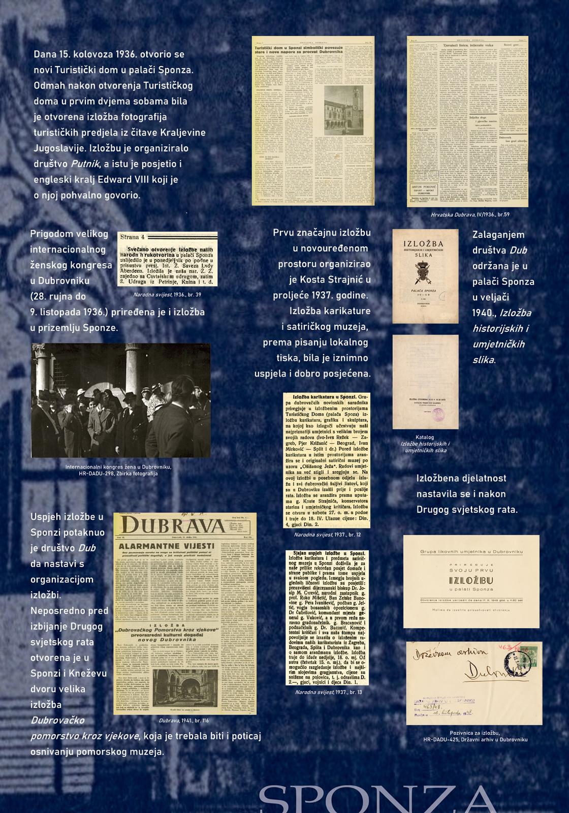 Panel sa izložbe koji prikazuje tekst i isječke iz novina raznih događanja u Sponzi u prvoj polovici 20. stoljeća