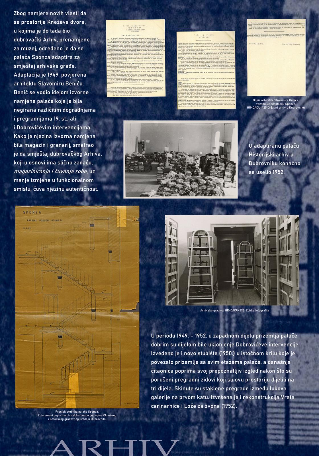Panel sa izložbe koji prikazuje dokumente i slike vezane uz sadašnju funkciju palače - Državni arhiv u Dubrovniku