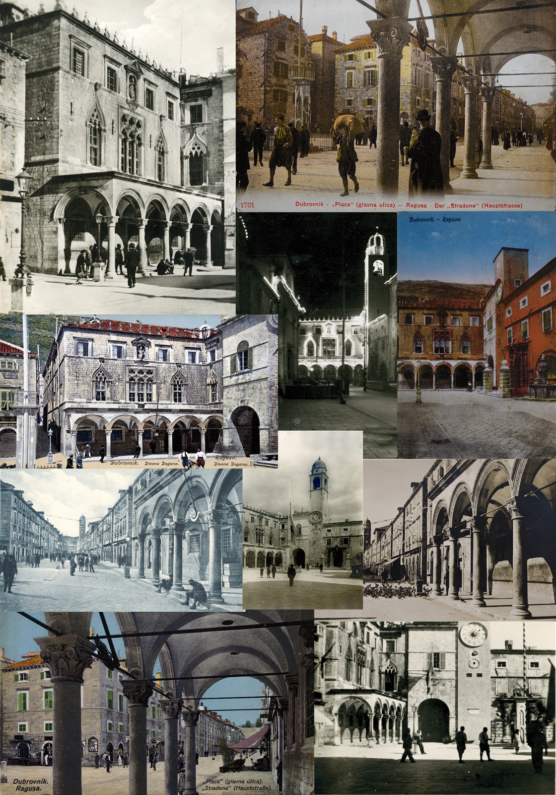 Kolaž fotografija palače Sponza kroz različita vremenska razdoblja