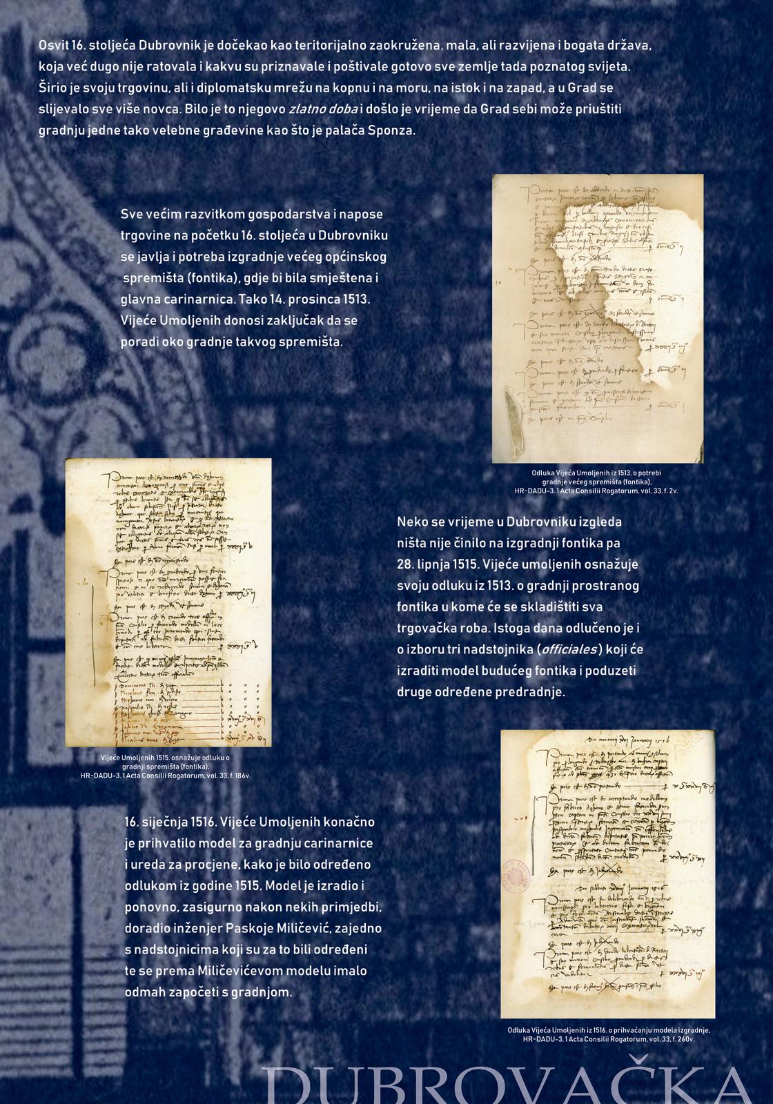 Panel sa izložbe koji prikazuje dokumente iz doba Dubrovačke Republike vezane uz Sponzu