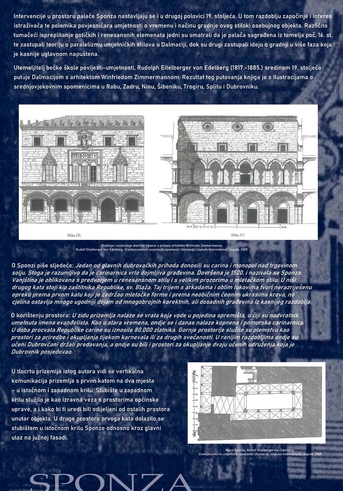Panel sa tekstom i slikama koje prikazuju historicističke intervencije u palaču Sponza u drugoj polovici 19. stoljeća