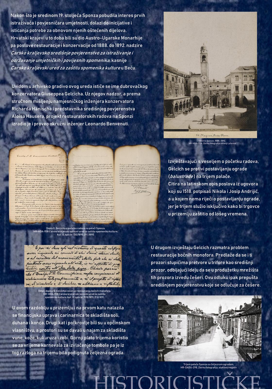 Panel 2 sa tekstom i slikama koje prikazuju historicističke intervencije u palaču Sponza u drugoj polovici 19. stoljeća
